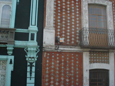 Wrought-iron balconies of colonial buildings in Puebla